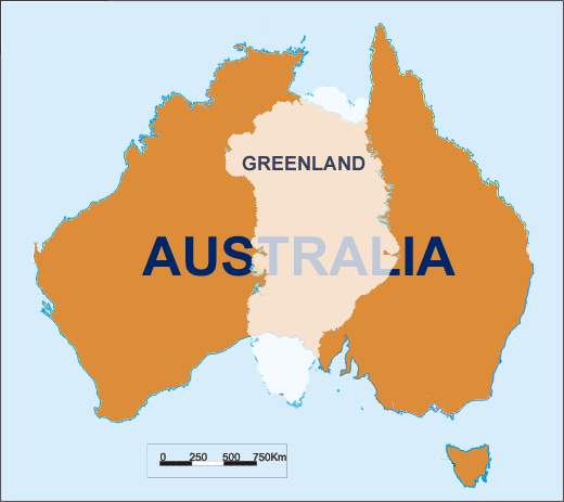 Maps can be deceptive: Australia - Greenland overlay