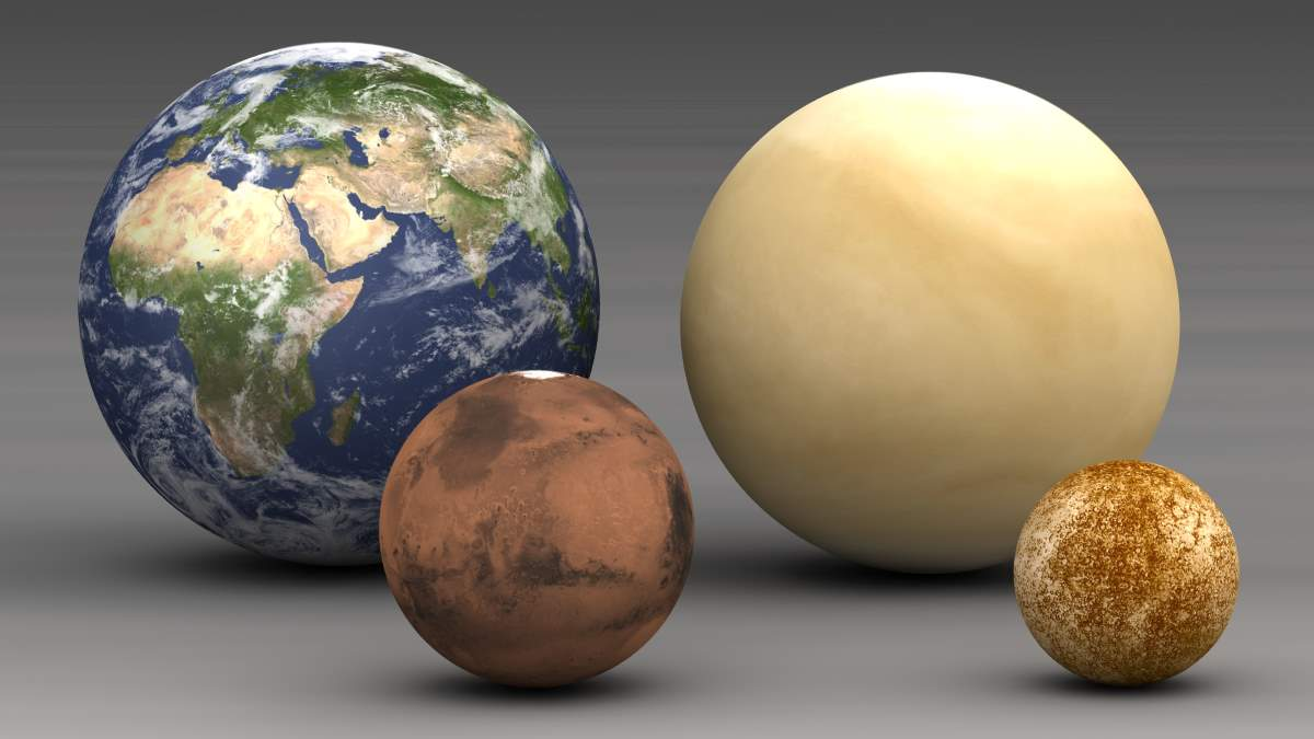 Earth Facts - Solar System: Telluric planets size comparison