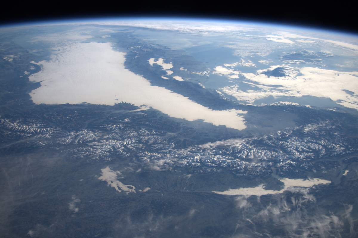 Most Beautiful Earth Images Taken From the International Space Station in 2015: The Alps in Winter from the International Space Station (December 27, 2015)