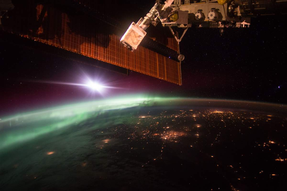 Most Beautiful Earth Images Taken From the International Space Station in 2015: Morning Aurora from the International Space Station (October 7, 2015)