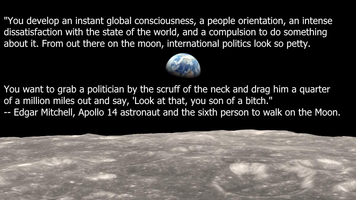 Earth quotes: Earthrise from Moon & Edgar Mitchell quote