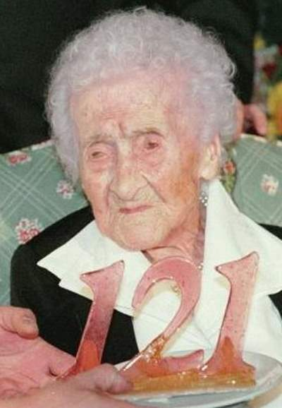 Jeanne Calment celebrating her 121st birthday in 1996