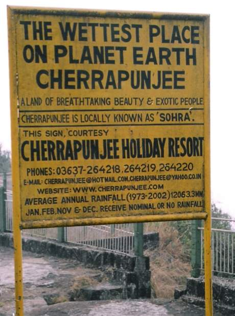 Cherrapunji record sign