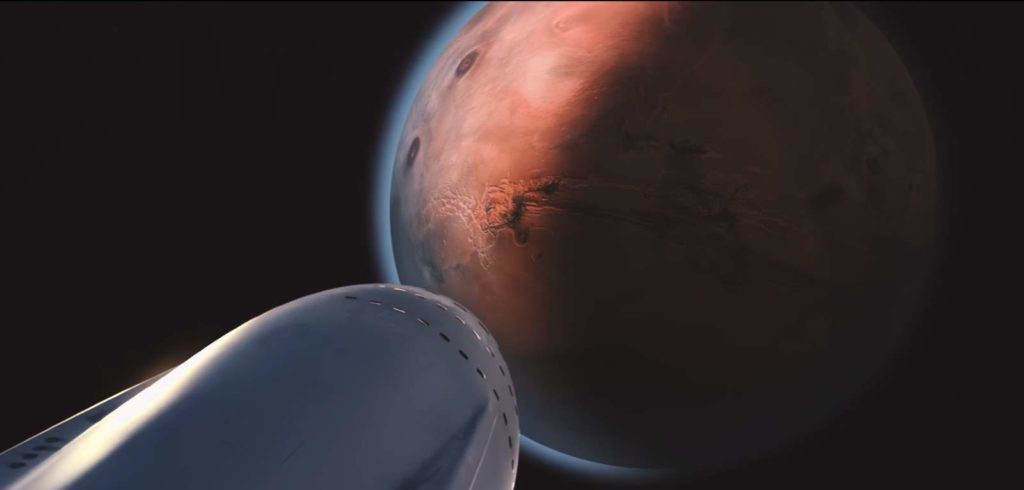 Interplanetary Transport System - Spaceship Close to Mars