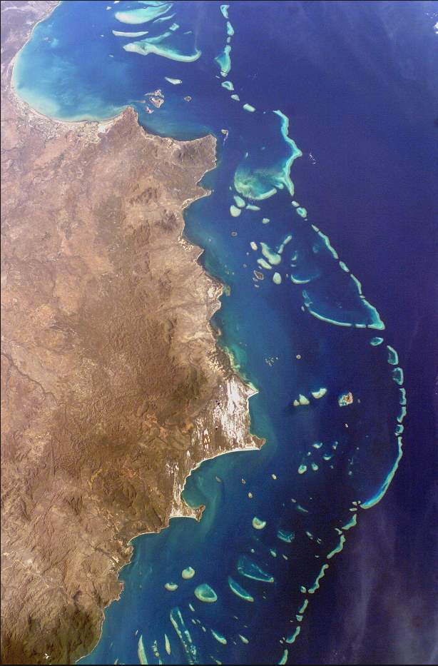 Amazing facts about the Earth: Great Barrier Reef from the space