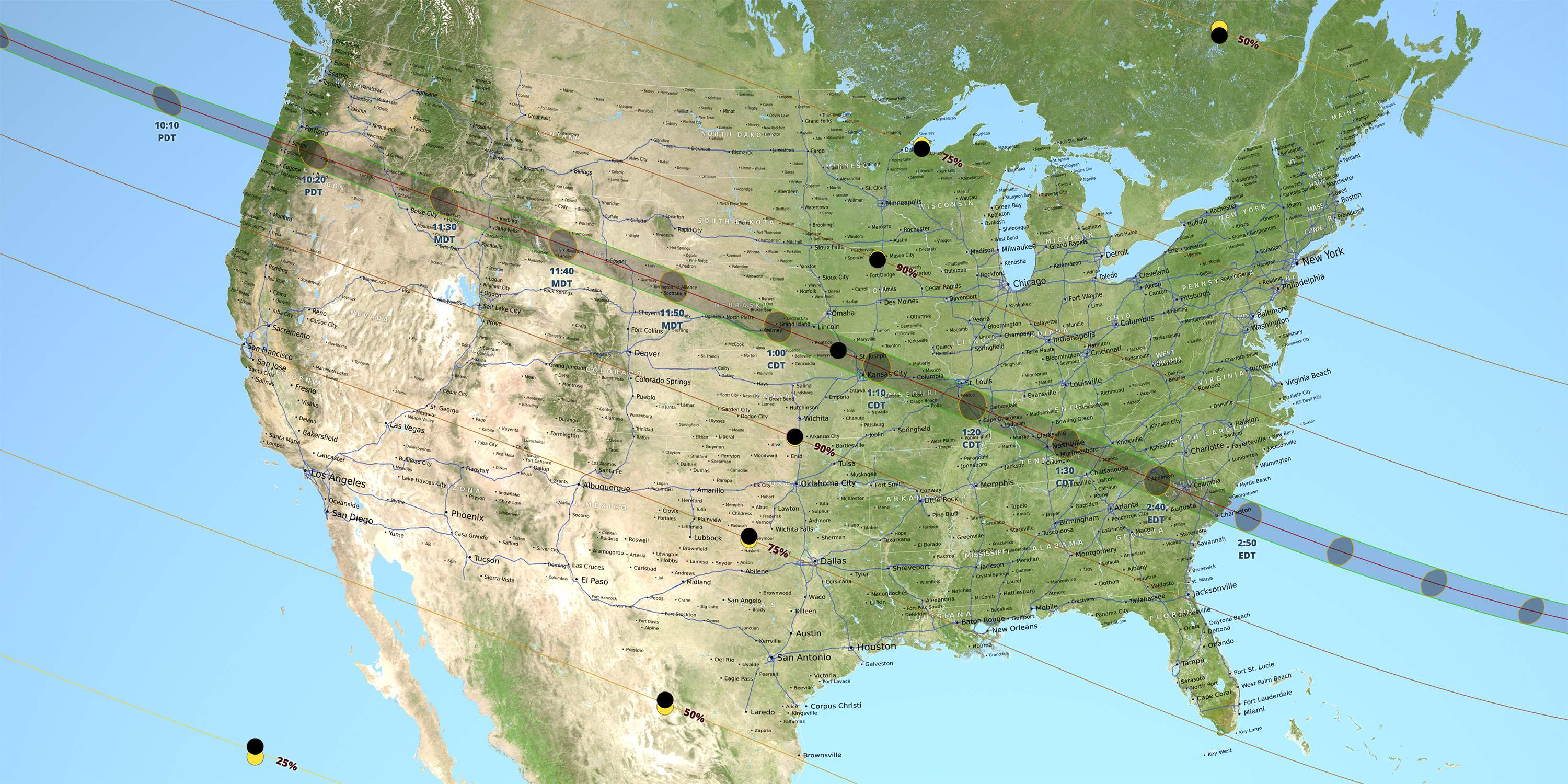 The map of 2017 Great American total solar eclipse