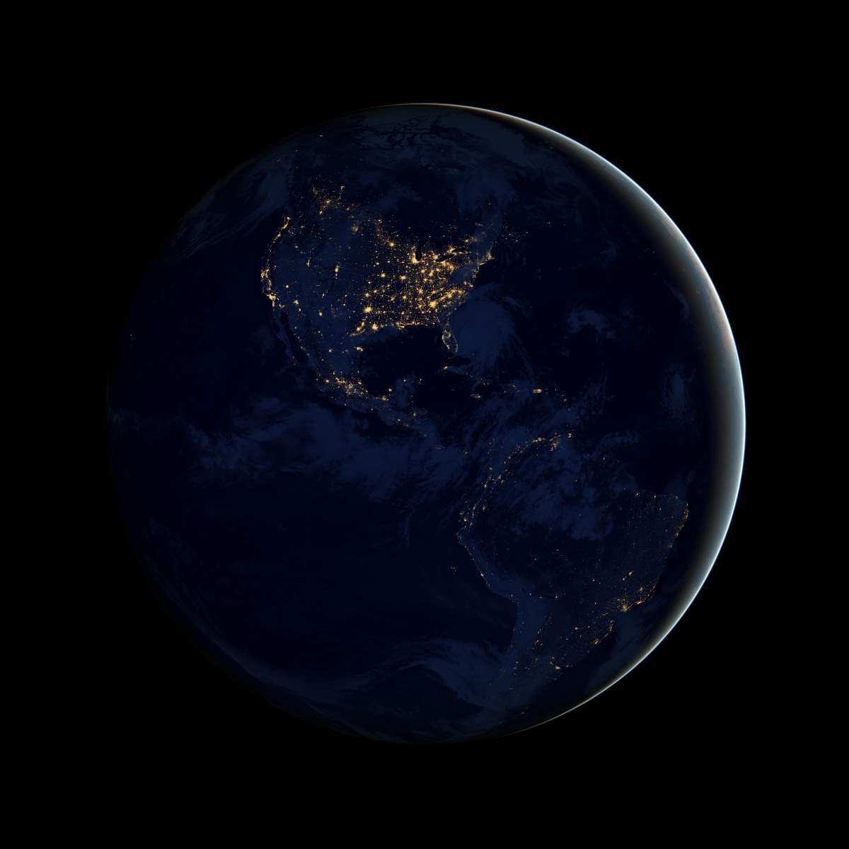 Earth from Space at Night - The Black Marble (Americas)