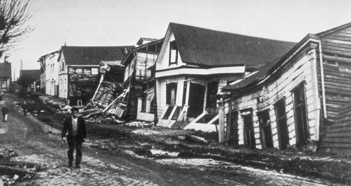 A Valdivia street after the earthquake of 22 May 1960, the biggest earthquake in history.