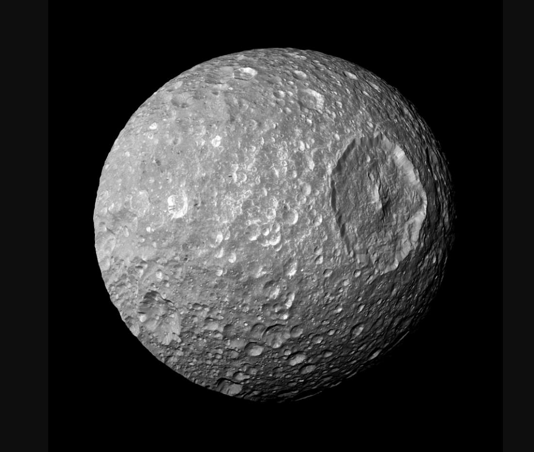 Mimas the 'Death Star Moon', Cassini (February 13, 2015)