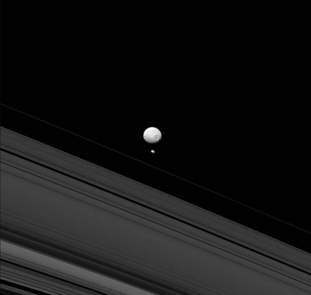 Mimas and Pandora, Cassini image (May 14, 2013)