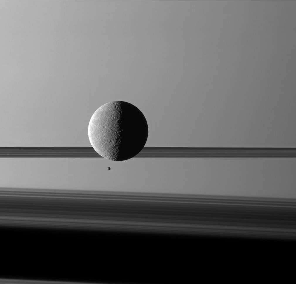 Rhea and Epimetheus. Cassini Image captured on March 24, 2010.