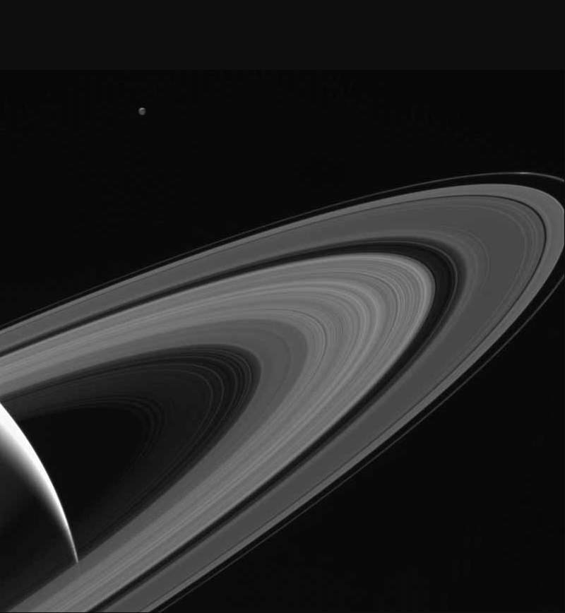 Saturn lit Tethys, Cassini view on May 13, 2015