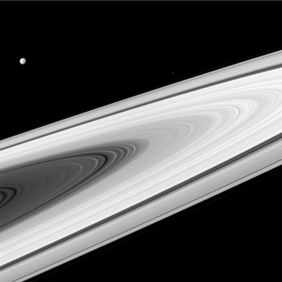 Saturn's rings, Dione and Epimetheus. Cassini Image (April 2, 2016)