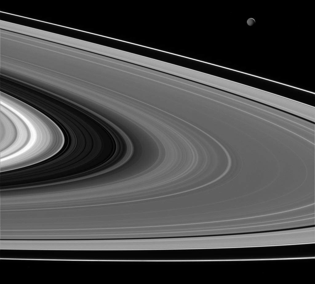 Mimas illuminated by Saturn, Cassini Image taken on February 16, 2015