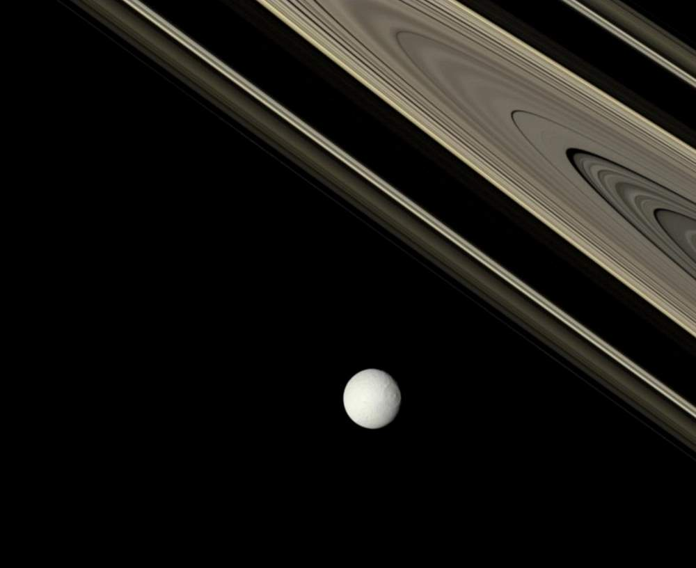 Saturn's rings and Tethys from Cassini (October 29, 2007)