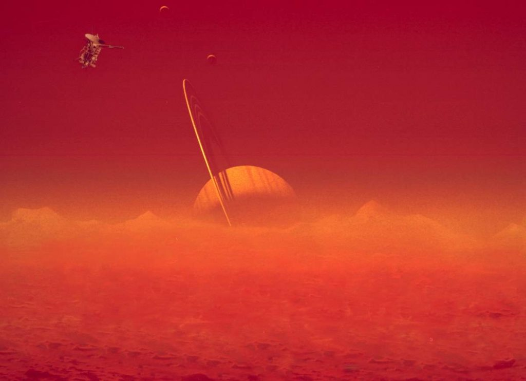 Saturn viewed through Titan's hazy atmosphere