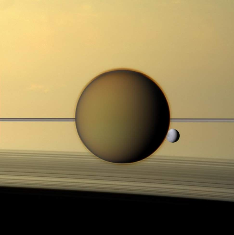 Titan and Dione, Cassini Image (May 21, 2011)