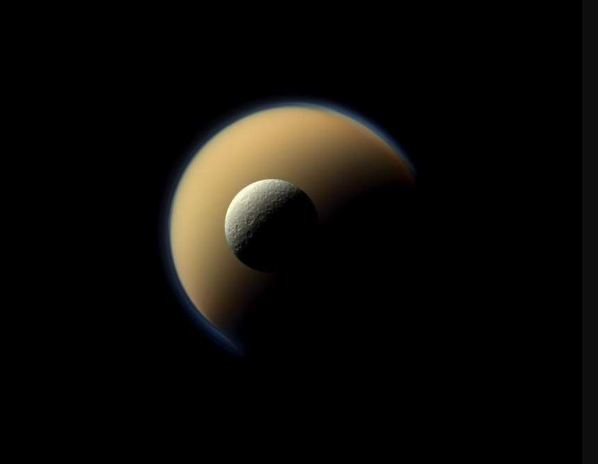 Titan and Rhea, Cassini Image obtained on June 16, 2011