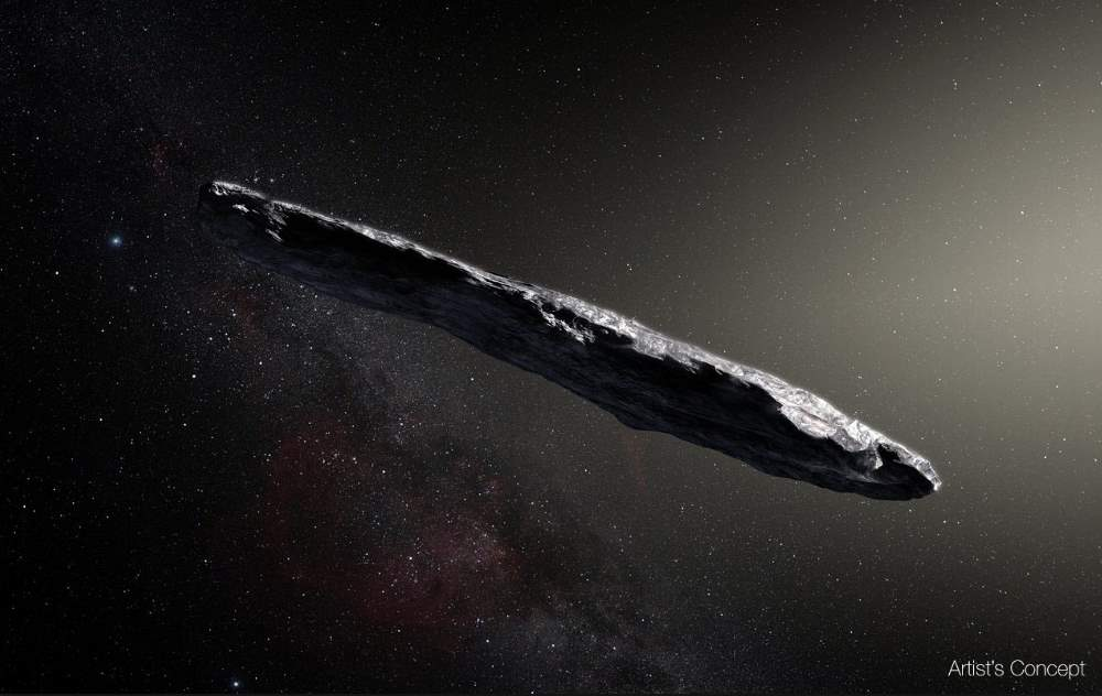 Cigar shaped interstellar asteroid (artist's concept)