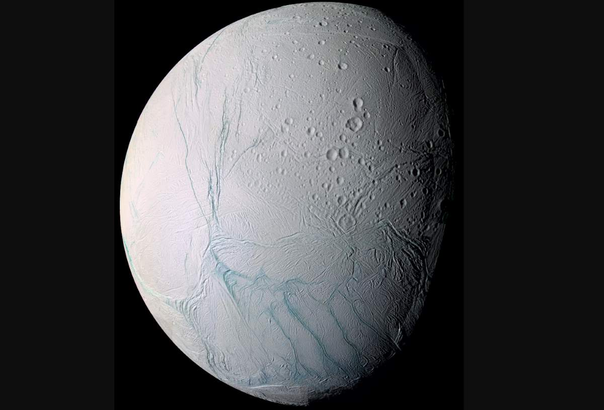 Enceladus as viewed from NASA's Cassini spacecraft
