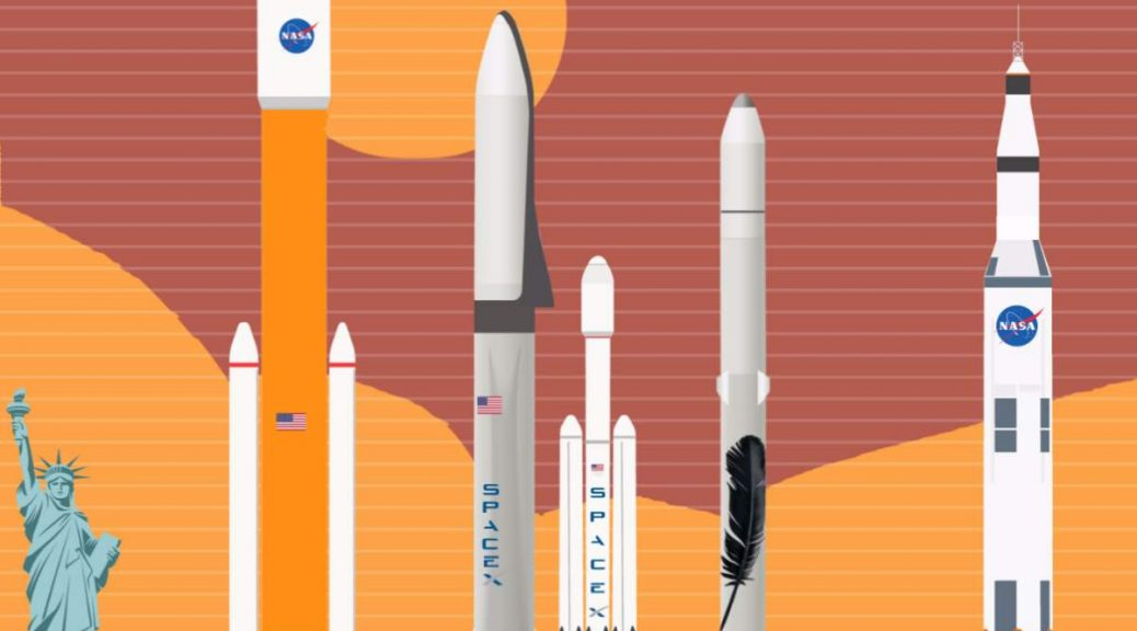 NASA, SpaceX and Blue Origin rockets comparison