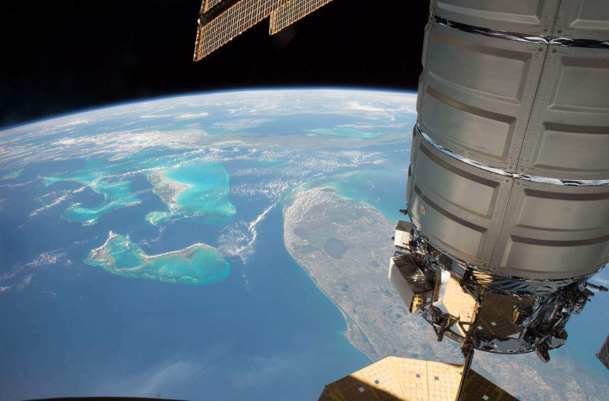 Cygnus Spacecraft Above Florida, Bahamas and Cuba, May 10, 2017
