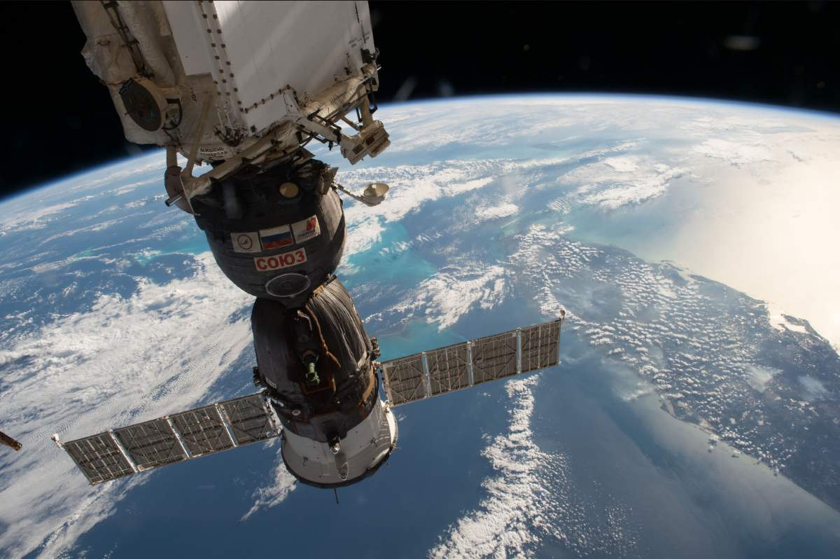 Docked Soyuz over Gulf of Mexico and Florida, ISS Image taken on February 3, 2017