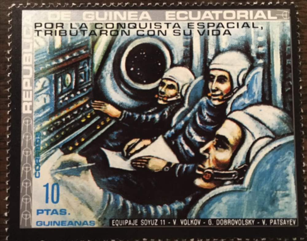 Equatorial Guinea stamp commemorating Soyuz 11 disaster