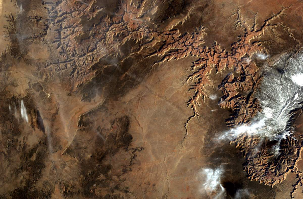 Top 10 Most Beautiful Earth Photos Taken From the International Space Station in 2017: ISS EarthKAM EarthKAM Sees the Grand Canyon, April 3, 2017