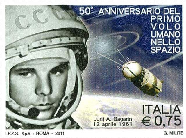 Yuri Gagarin on an Italian Stamp (2011)