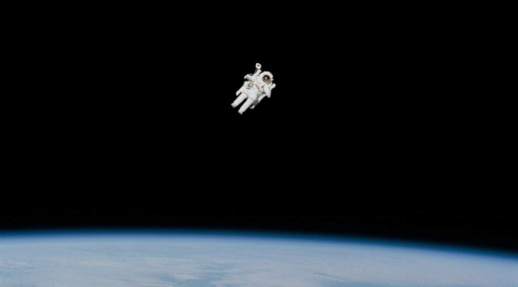 Bruce McCandless II performs the first untethered spacewalk on February 7, 1984