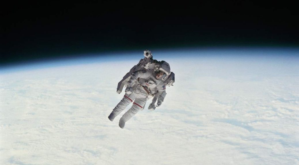 Robert L. Stewart during EVA-1 of STS-41-B mission. February 7, 1984.