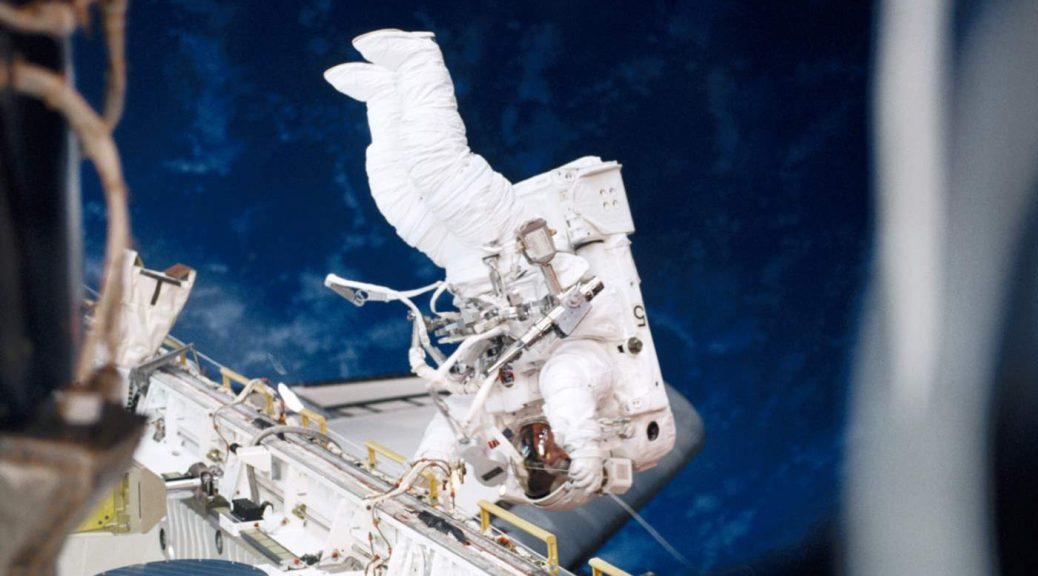 Longest spacewalks: Susan Helms during STS-102 EVA 1, the longest spacewalk in history