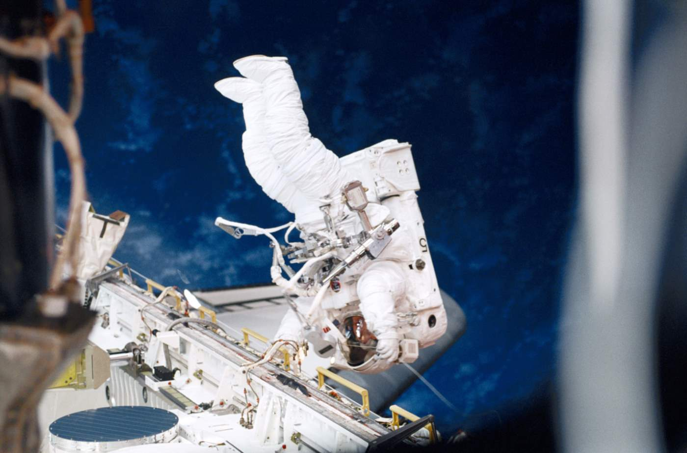 Susan Helms during STS-102 EVA 1, the longest spacewalk in history