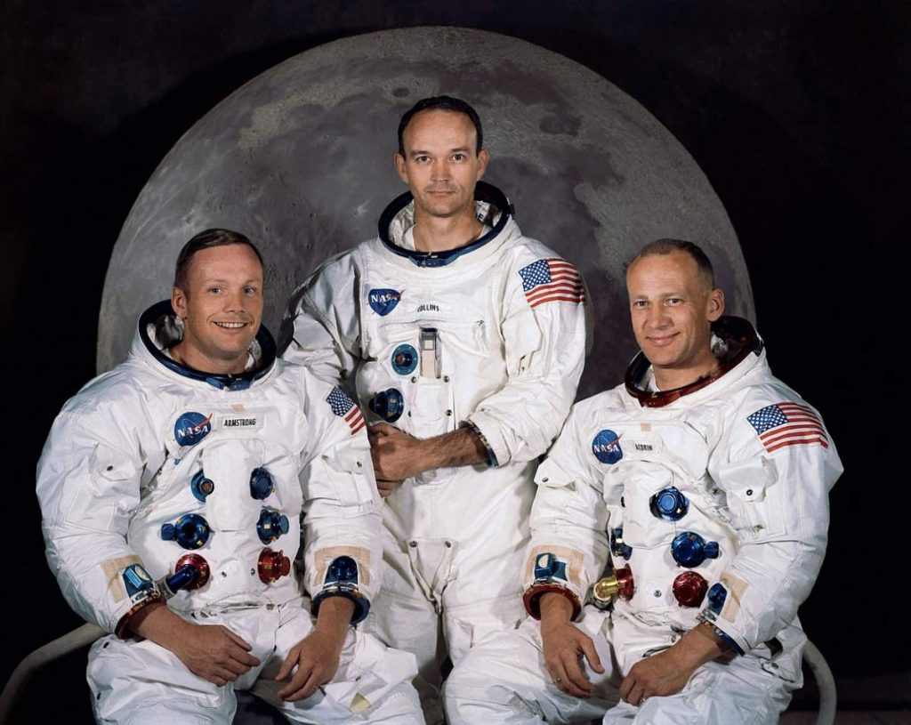 The crew of Apollo 11 Moon Landing mission: Neil Armstrong, Michael Collins, Buzz Aldrin.