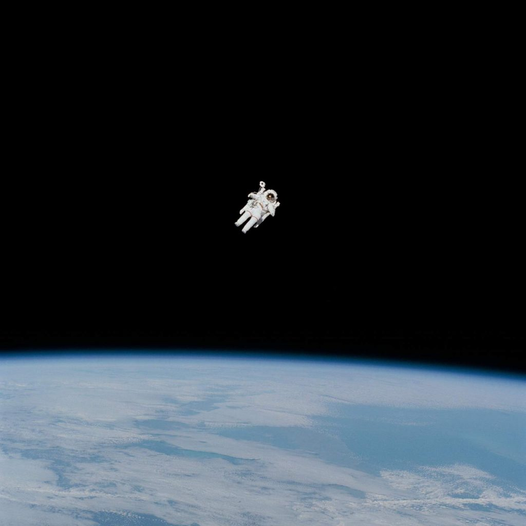 Bruce McCandless II during the first untethered spacewalk - he broke the spacewalking record