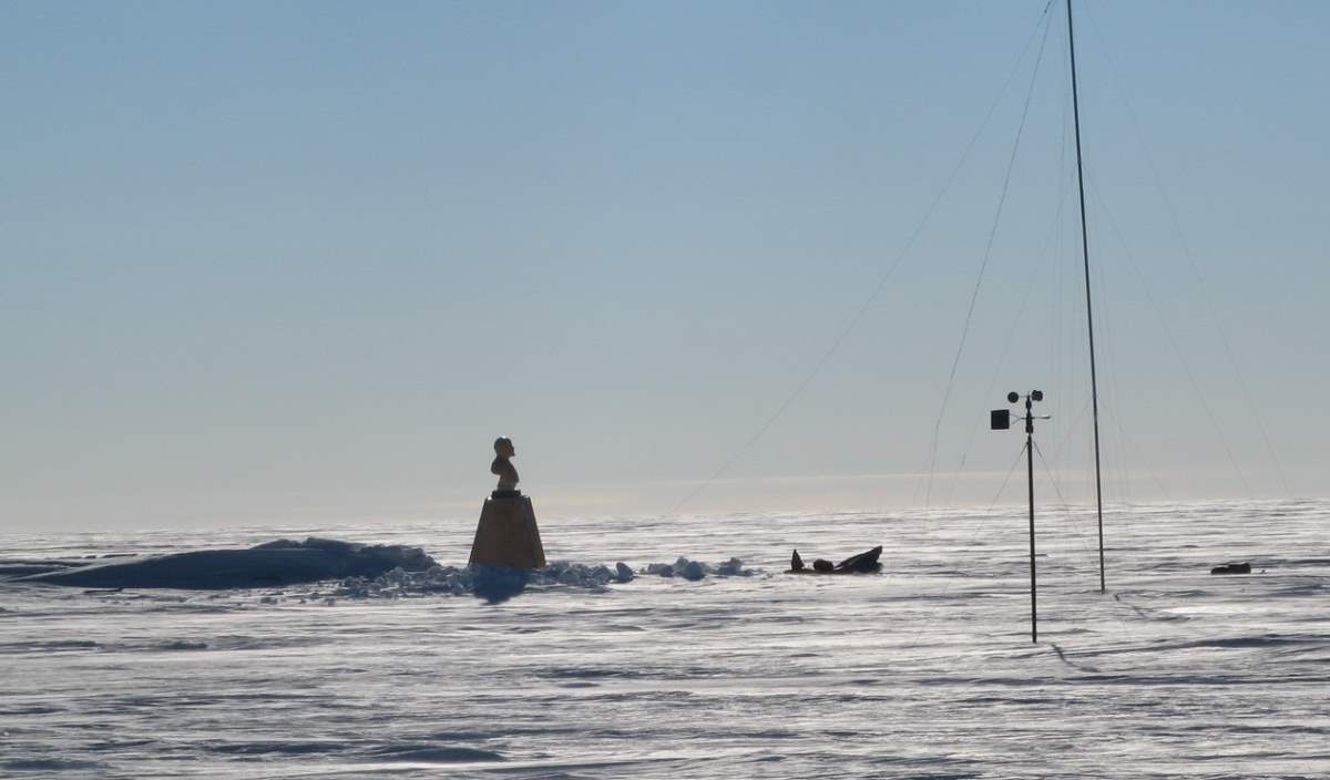 Bust of Lenin at the Pole of Inaccessibility Station in Antarctica