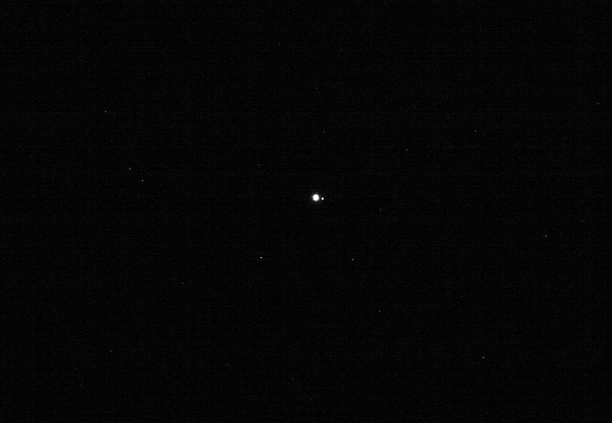 Earth and Moon from 39.5 million miles. OSIRIS-REx image captured on January 17, 2018