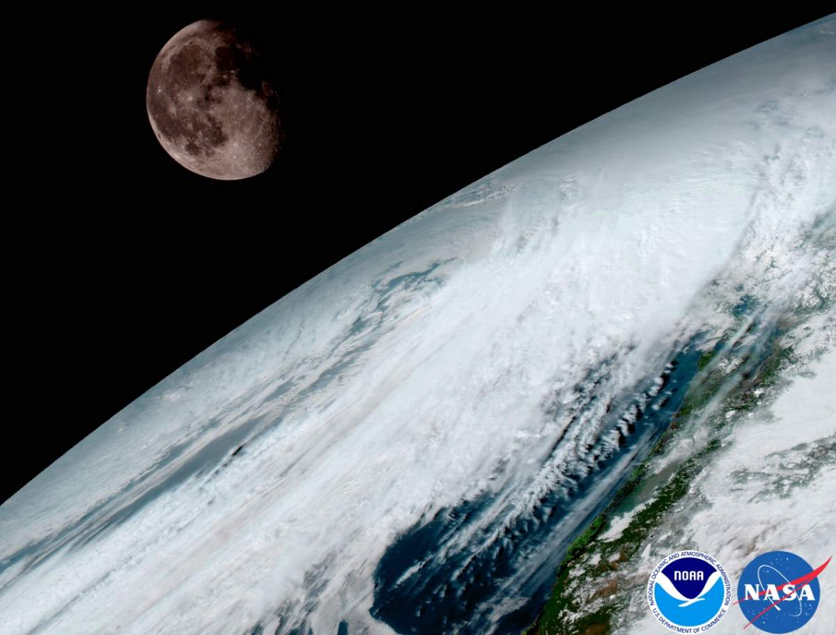 Earth and-Moon. GOES-16 image.
