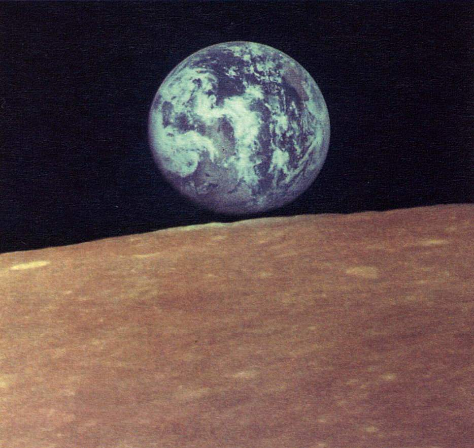 Earthrise as seen from the Moon. Zond 7 photo (1969) - 01