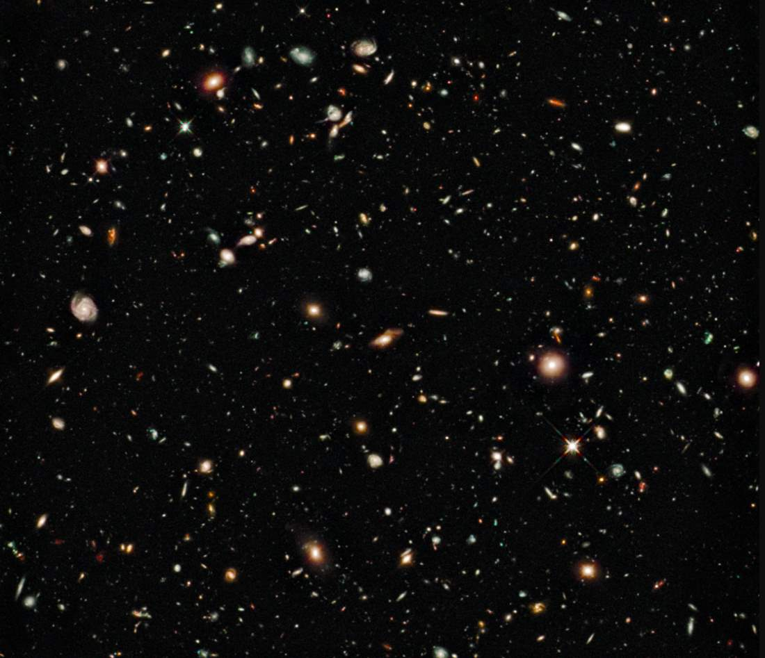 Famous Hubble image showing about 10,000 galaxies