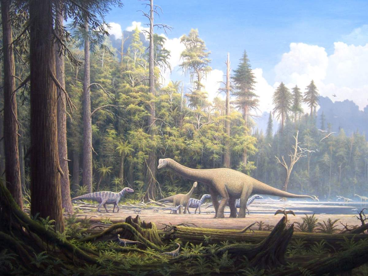 Late Jurassic. Dinosaurs in the forest