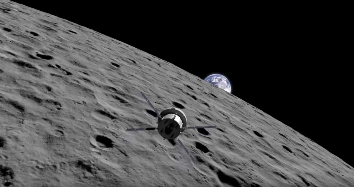 Orion spacecraft and Earthrise from the Moon