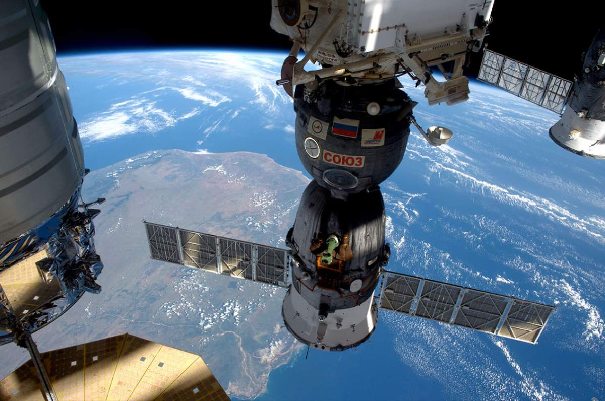 Soyuz TMA-19M seen docked to the ISS