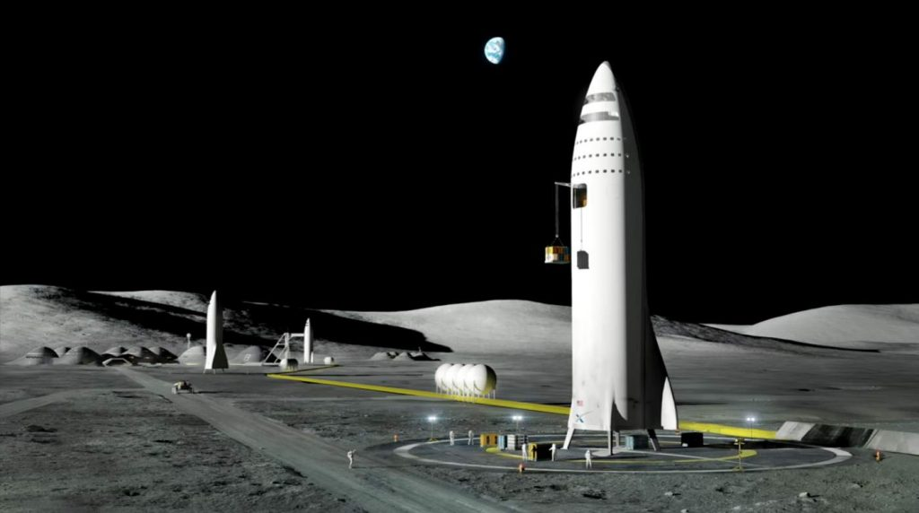 SpaceX Starship at the Lunar Base - it will be stainless steel