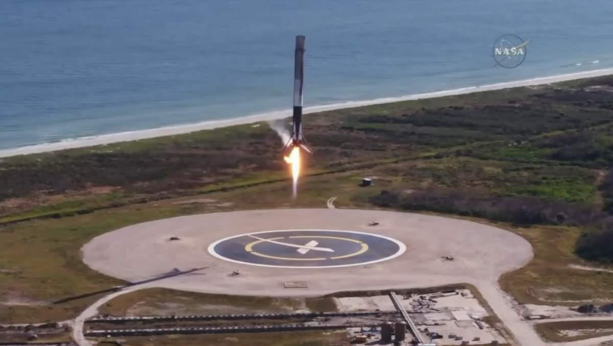 SpaceX Falcon-9 CRS 13 landing. December 15, 2017.
