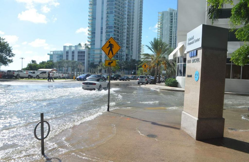 Global sea level rise: tidal Flooding in Miami. October 17, 2016