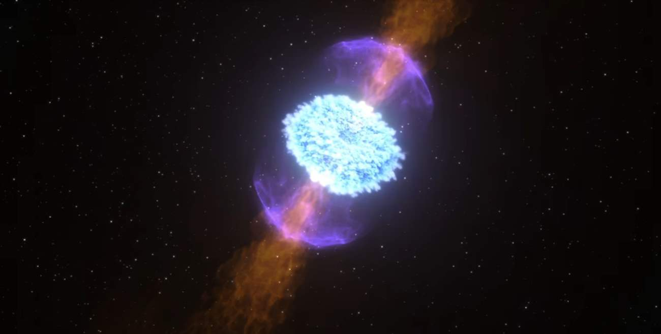 Two Neutron Stars Collide - explosion