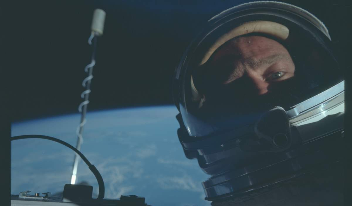 Buzz Aldrin's Selfie during the Gemini 12 Mission (cropped)