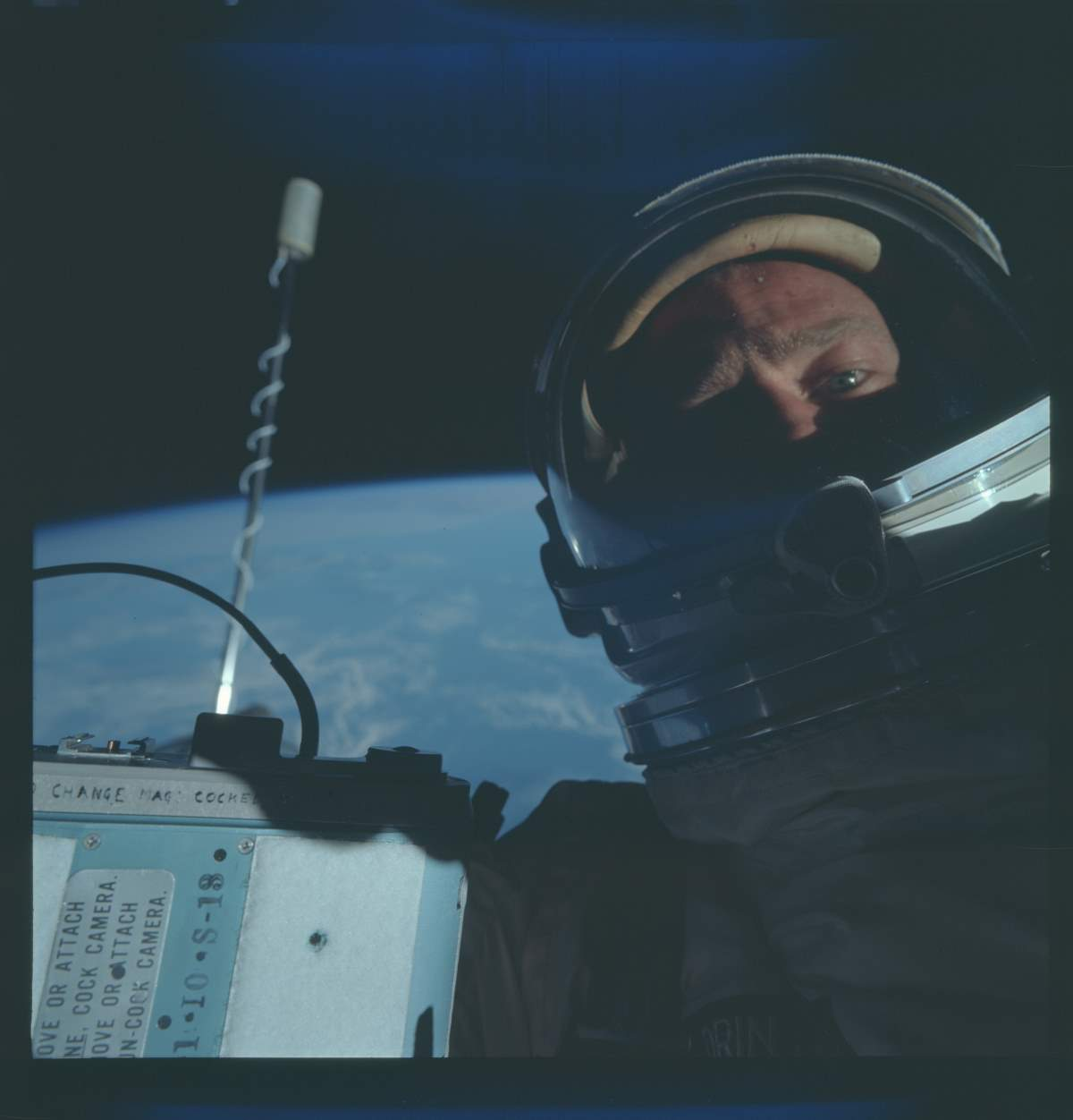 Buzz Aldrin selfie during the Gemini 12 Mission